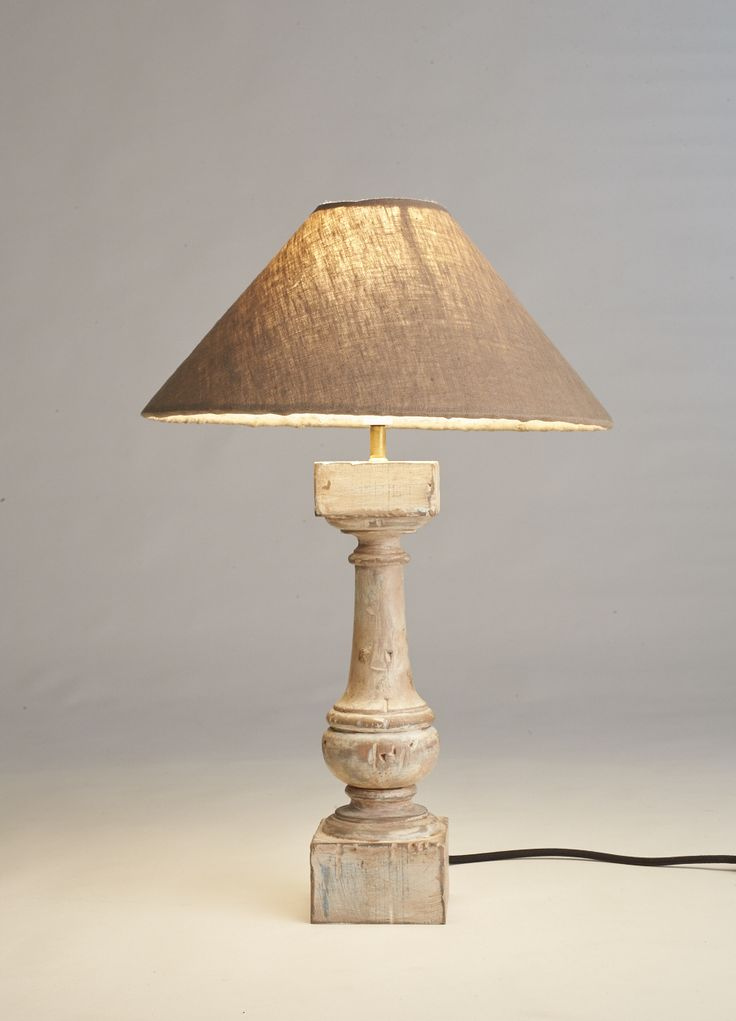 Distressed Wood Side Table Lamp Handmade Design Pure