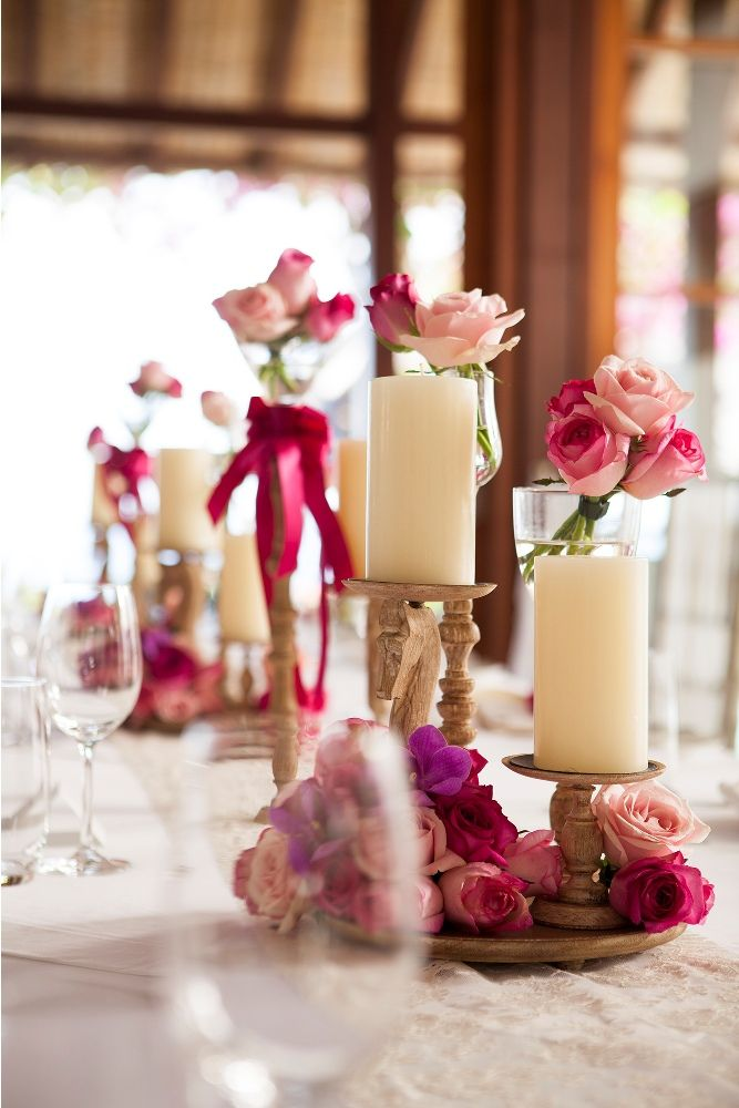 Hot pink bouquet adorning the Bridal Table 1 by Tirtha Bridal Uluwatu Bali