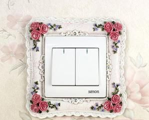 Fashion sweet exquisite rose flowers resin switch sticker bedroom decoration free shipping