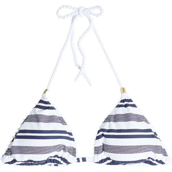 Heidi Klein Striped Padded Triangle Bikini Top ($110) via Polyvore featuring swimwear, bikinis, bikini tops, stripes, swim suit tops, striped bikini top, triangle swim wear, triangle swimwear and nautical bikini