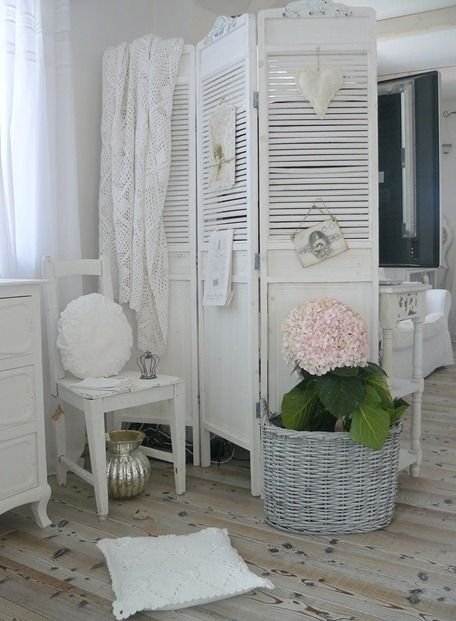 Shabby Chic ~ Up cycle project idea: Take the louvered closet doors I hate so much & turn them into a room divider :o) Legs, frames + hinges = room divider