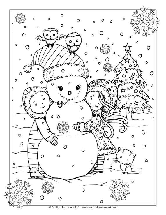 Children With Snowman And Owls Coloring Page Printable Etsy Free Christmas Coloring Pages Owl Coloring Pages Snowman Coloring Pages