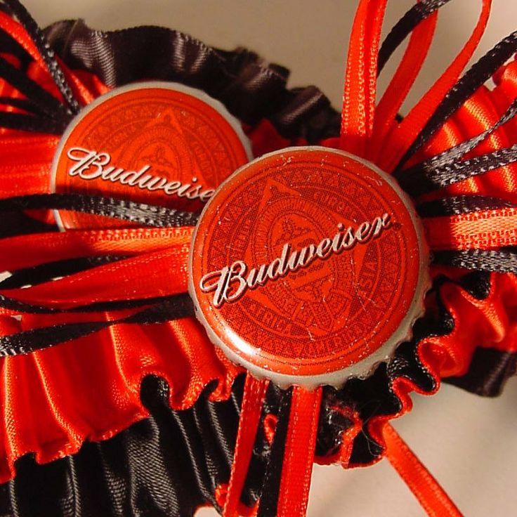 wedding garter set Budweiser Bottle Cap Keepsake by PetereneDesign, $40.00