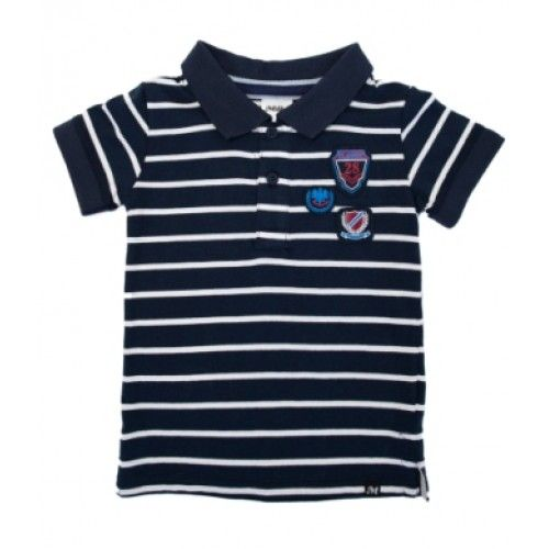 navy and white stripe polo for boys from children's clothing brand, milkyfeatures three badges on the front and a soft collar $26.95