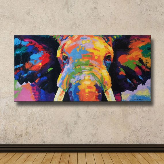 Colorful Elephant Painting 40×80 cm