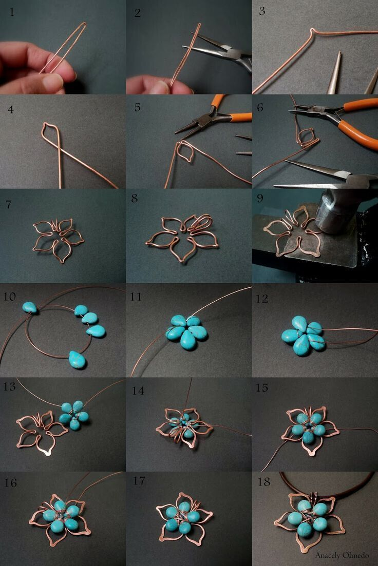 Pendant Necklace DIY Tutorial: Flower Stones and Wire based