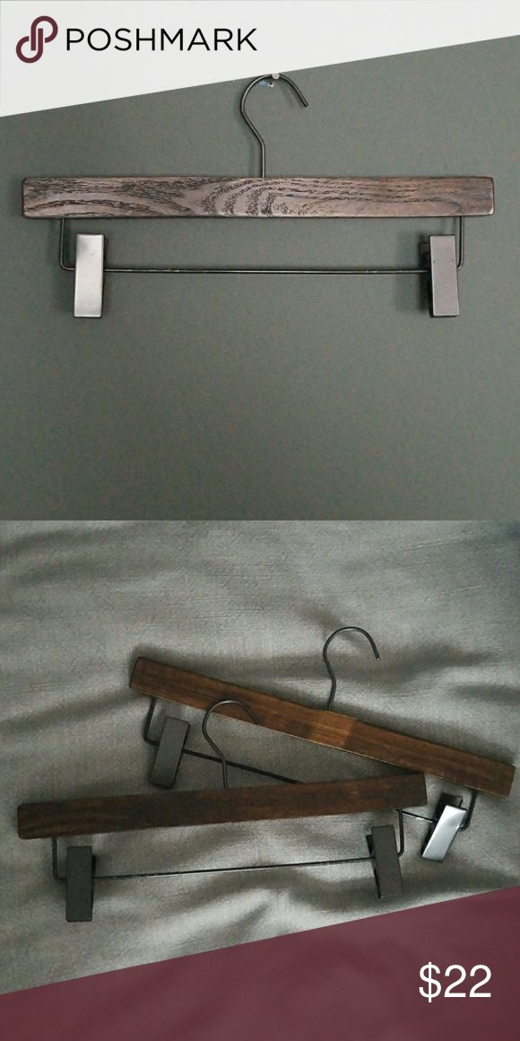 Lot of 15 Darkwood & Gunmetal Wooden Pant Hangers Wooden pant/skirt hangers brand new.  qty: 15 Nahanco Other