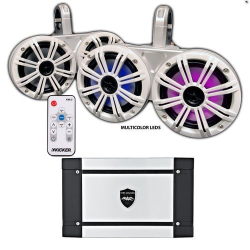 """Kicker White Dual Wake Tower System w/ 4 White 6.5"""" LED Speakers, LED Remote and Wet Sounds HT-4 400 Watt Marine Amp"""