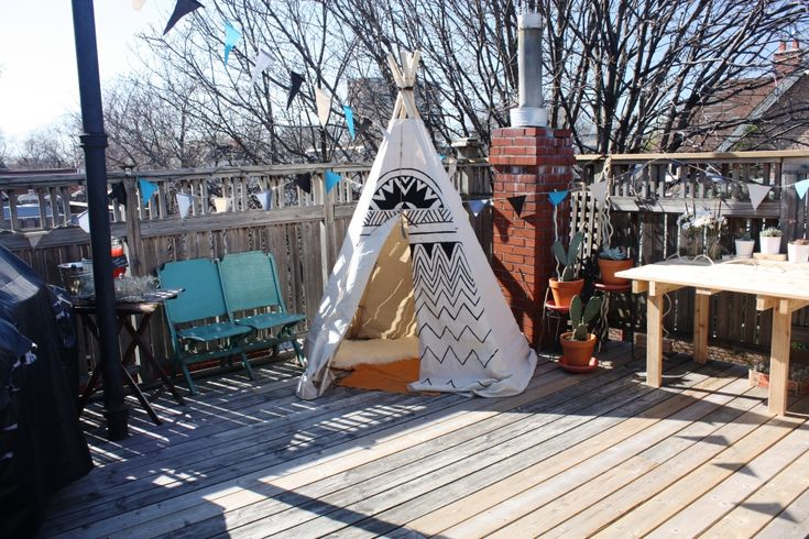 Tipi DIY for the kids on the back deck. Gives the measurements of how to cut the material.