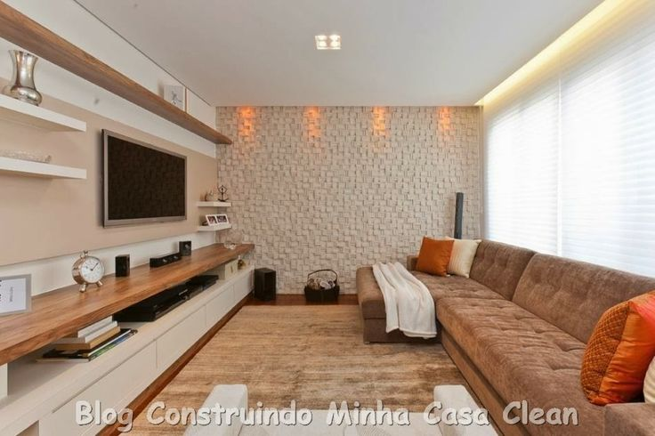 home theater 20 projetos de salas de tv modernas madeira layout e ems. Black Bedroom Furniture Sets. Home Design Ideas