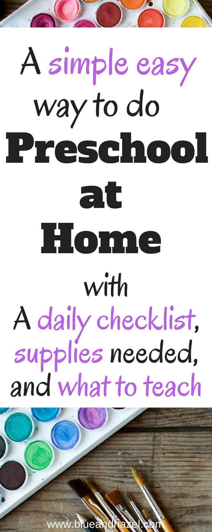 Preschool at home can be easy and fun! Learn how she does homeschool preschool, see a daily preschool routine with a 3 & 5 year old, and get a checklist to help you plan what to do each day! This is perfect for helping you get started teaching preschool at home with everything to teach before Kindergarten. #preschool #homeschool #toddler #learning