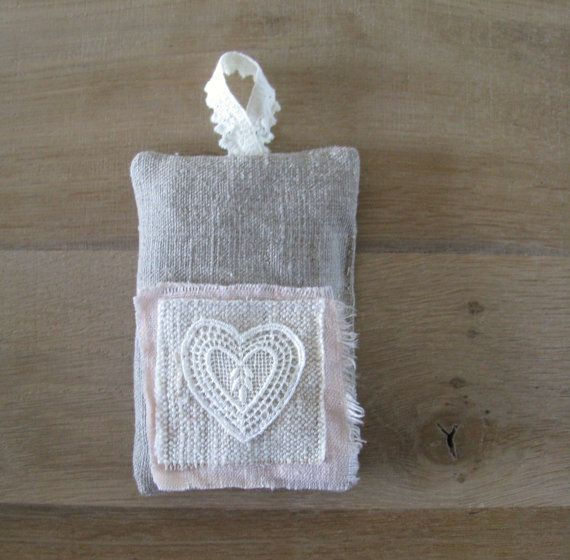 lavender pillow - neutral linen and blush pink lavender sachet - lace heart - mothersday gift  - shabby home decor