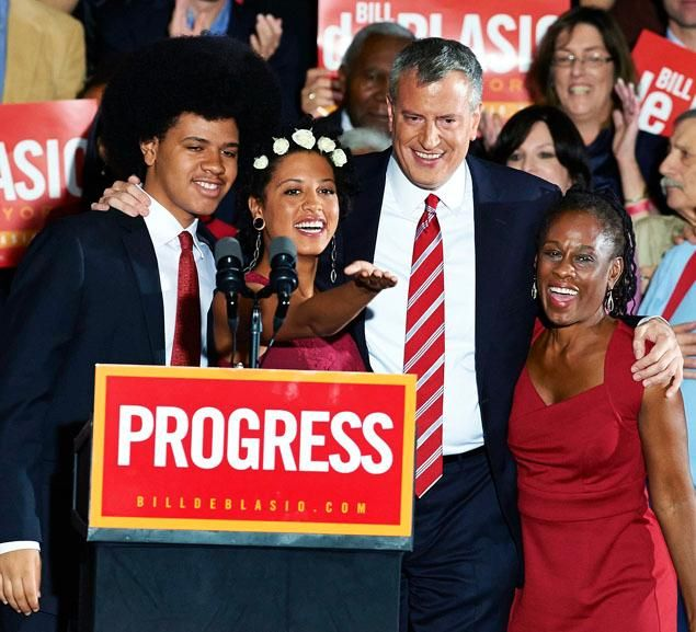 Bill de Blasio, NYC's New Mayor, pictured with his family. The last time NYC had a Democratic mayor was 1989.