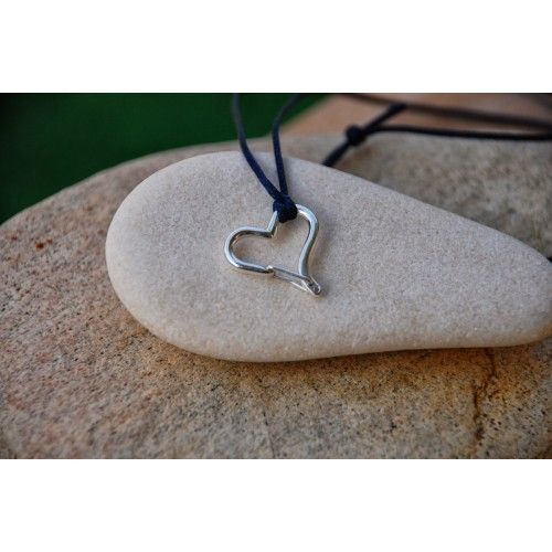 Heart Shaped Carabiner Necklace with functional wire gate: the gate is spring loaded and arches back when you open it