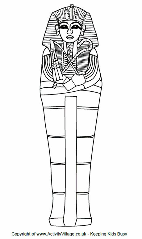 Sarchophagus colouring page.  Planning to use this to make a paper sarchophagus and then make a mummy from an action figure to put inside.
