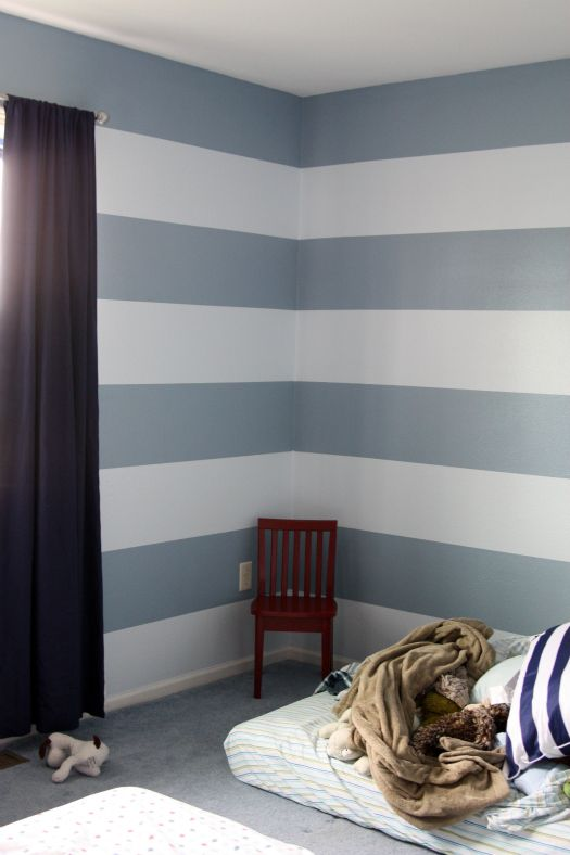 I am thinking about blue stripes on one of Owen's walls because we might not have enough paint to cover the current Orange accent wall that will clash with the new Firetruck theme! This way I will only need half as much of the old paint and a little bit of new paint to get the job done! :-)