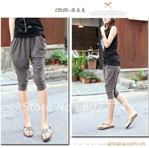 Freeshipping Wholesale Women harem pants crop pants Loose Fit Baggy Capris  (7 Colors )stylish mix order
