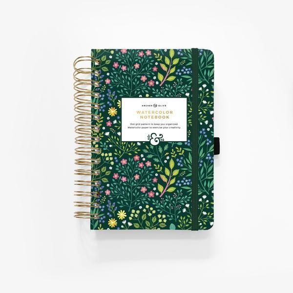 Watercolor A5 Verdant Ventures Spiral Dot Grid Notebook Dot Grid