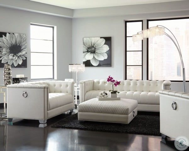 Chaviano Pearl White Tufted Living Room Set White Sofa Living Room Leather Sofa Living Room White Furniture Living Room