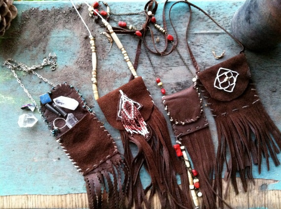 elixir medicine bag leather necklace by theblackbirdrevival, $30.00  >>comes with little hidden treasures