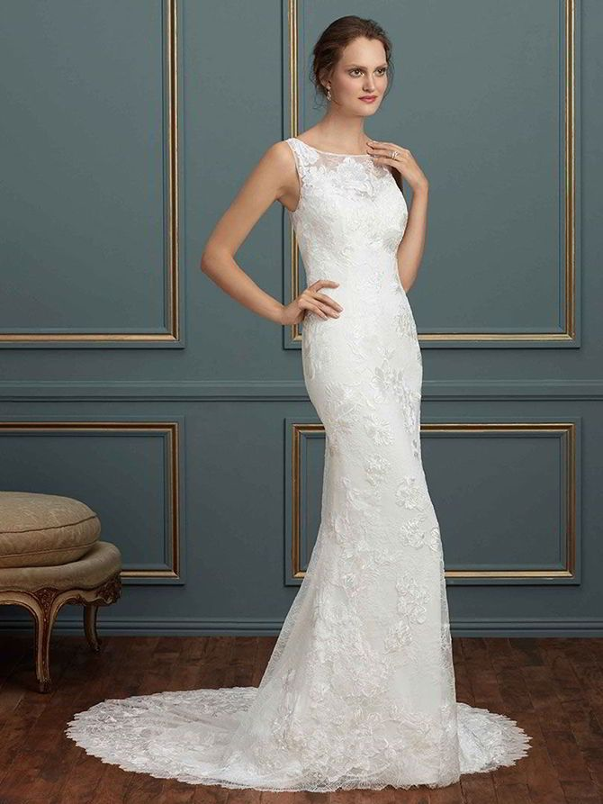A picture of elegance, Natalia is a bateau neckline fit and flare gown with Turkish embroidered lace over Chantilly and silk stretch georgette. The illusion back provides just the right detail to this sophisticated gown.