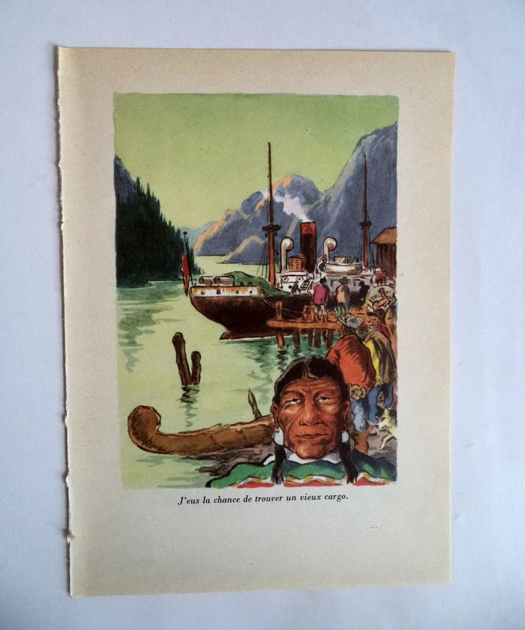 Vintage 50s Print Haida Indian Vancouver Port, Haida Boat, Indian Boat, Gold Rush Print, Original Print , Arctic Exploration, Wall Decor by MushkaVintage3 on Etsy