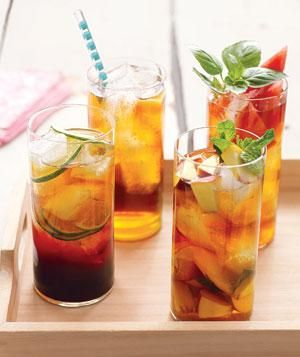 Upgrade iced tea with anything from ginger and honey to peach and mint. | A gallery of cocktails, iced teas, lemonades, and other drinks to slake your thirst.
