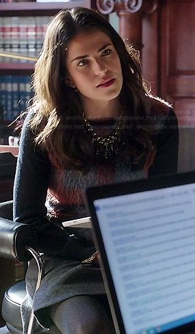 Laurel's fluffy plaid front sweater on How to Get Away with Murder.  Outfit Details: http://wornontv.net/45658/ #HTGAWM