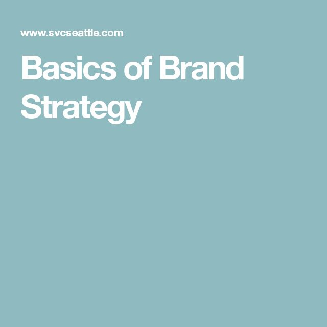 Basics of Brand Strategy