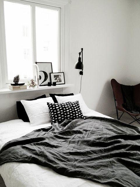 svart-vitt sovrum