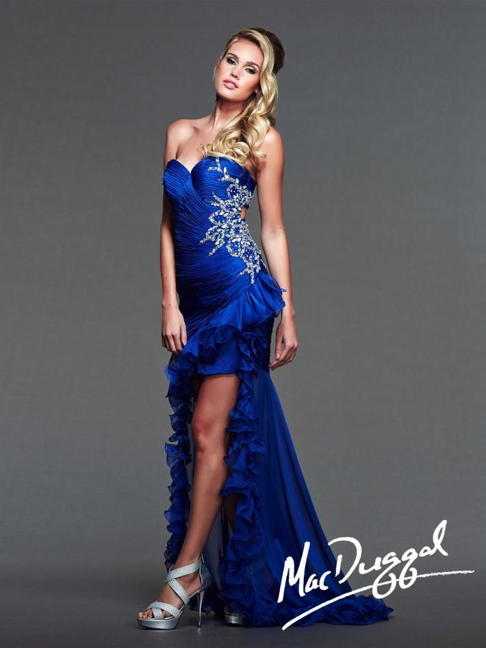 Electric Blue High Low Prom Dresses