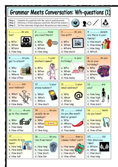 Grammar Meets Conversation: Wh-questions (1) - Getting To Know You worksheet - iSLCollective.com - Free ESL worksheets