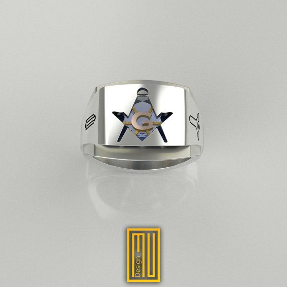 Master Mason Ring Unique Design for Men 925k Sterling Silver body with Blue Sky Topaz Gemstone and 14k Rose Gold,  2016 edition