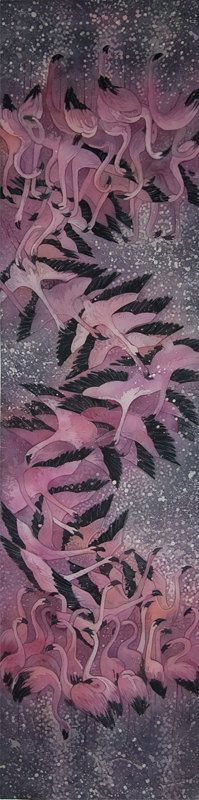 Flamingos - hand-painted silk scarf by KseniaEfimova on Etsy: