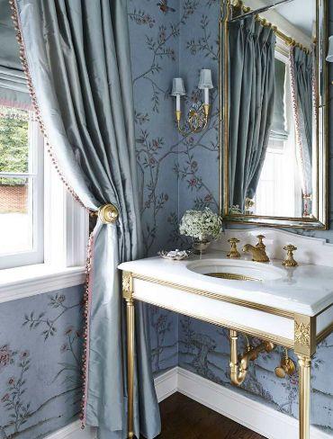 Powder room brass gild vanity chinoiserie wallpaper circa lighting sconce
