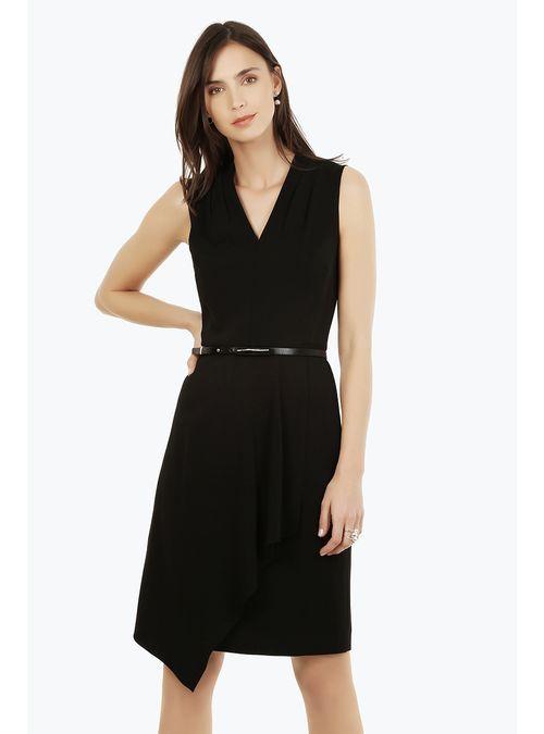 Compra Vestido Negro Con Envolvente Asimetrico - Julio Tienda Online