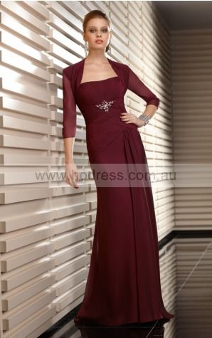 Strapless 3/4-Length Sleeves A-line Zipper Floor-length Formal Dresses afba307072--Hodress