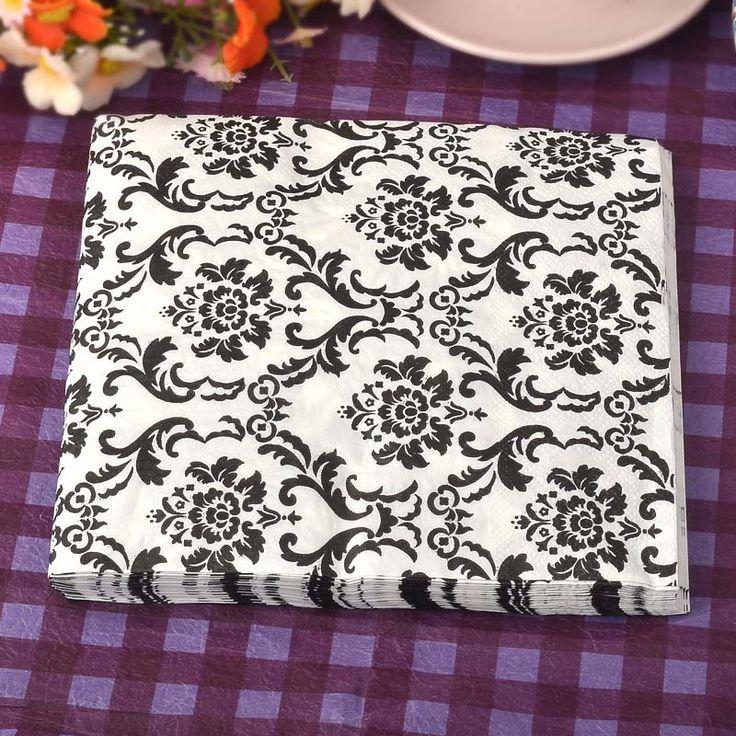 Classic Black White Retro pattern Paper Napkins Cafe & Party Tissue Napkins Decoupage Decoration Paper 33cm*33cm 20pcs/pack/lot