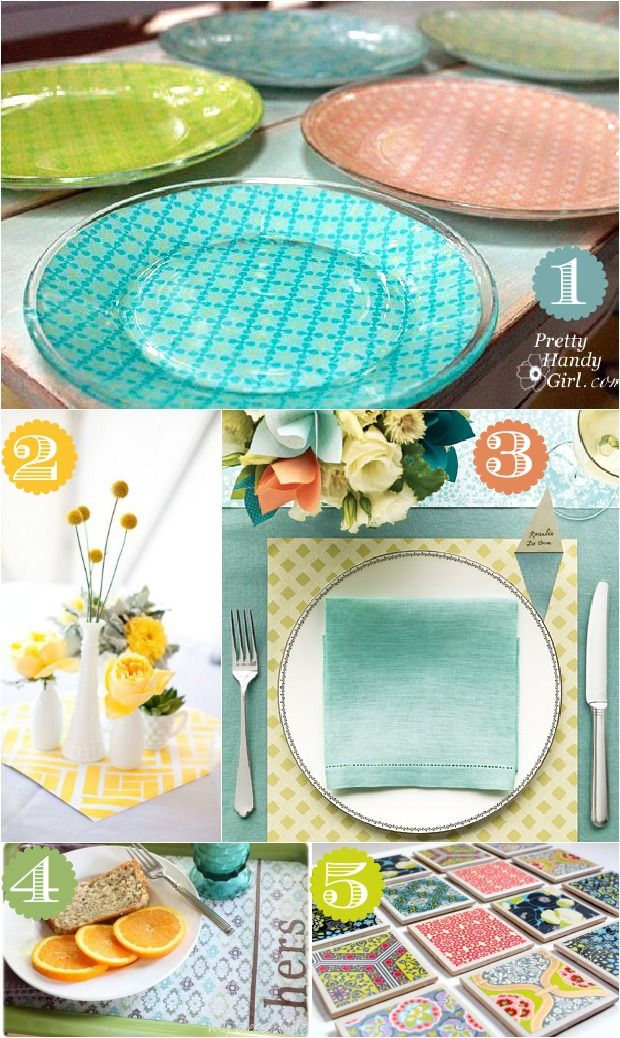 Decoupage scrapbook paper on glass plates, tile coasters, or inside an old tray to give your dining wares new life. I love using scrapbook paper to highlight a floral arrangement, or as an inexpensive placemat.