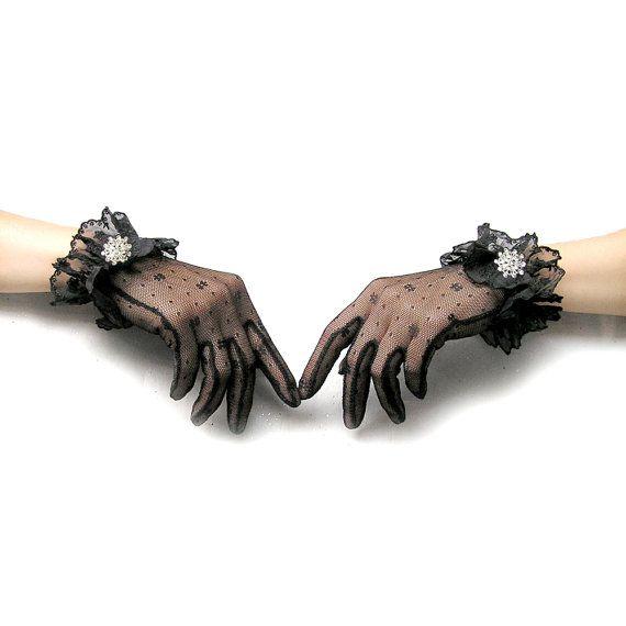 Short Lace Gloves Sheer Black Gloves Short Black by curtainroad