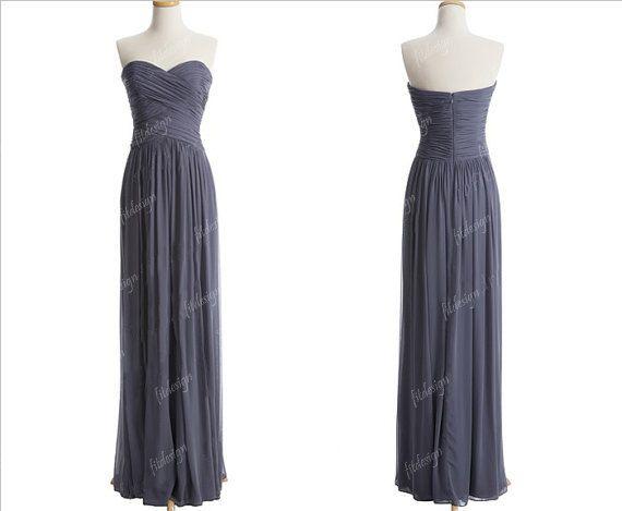 gray bridesmaid dress long bridesmaid dress chiffon by fitdesign, $119.00