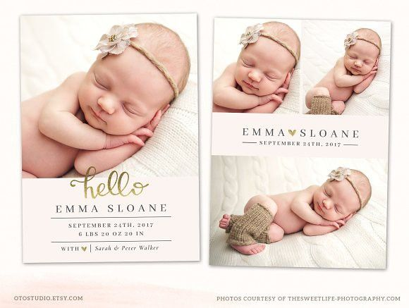 Birth Announcement Template CB093 #birthannouncement #newbaby