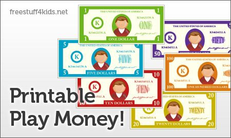 Free Printable Play Money - great for playing store, bank and learning about money!