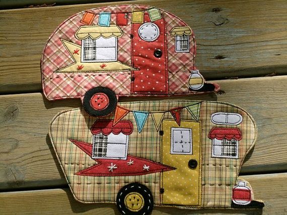 Camping Mug Rugs!  :) I love these! Reminds me of the good ole' family camping @Kristen - Storefront Life Travis @Mary Powers Siedschlag