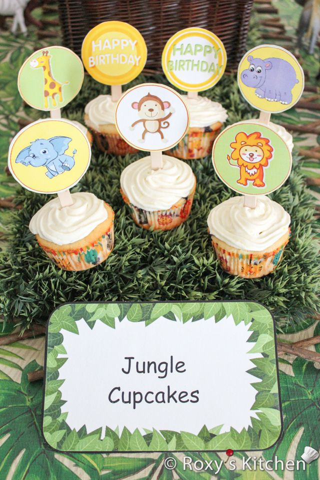 Safari Jungle Themed First Birthday Party - Jungle Animals Cupcake Topper FREE Printables - lion, elephant, giraffe, monkey, hippo