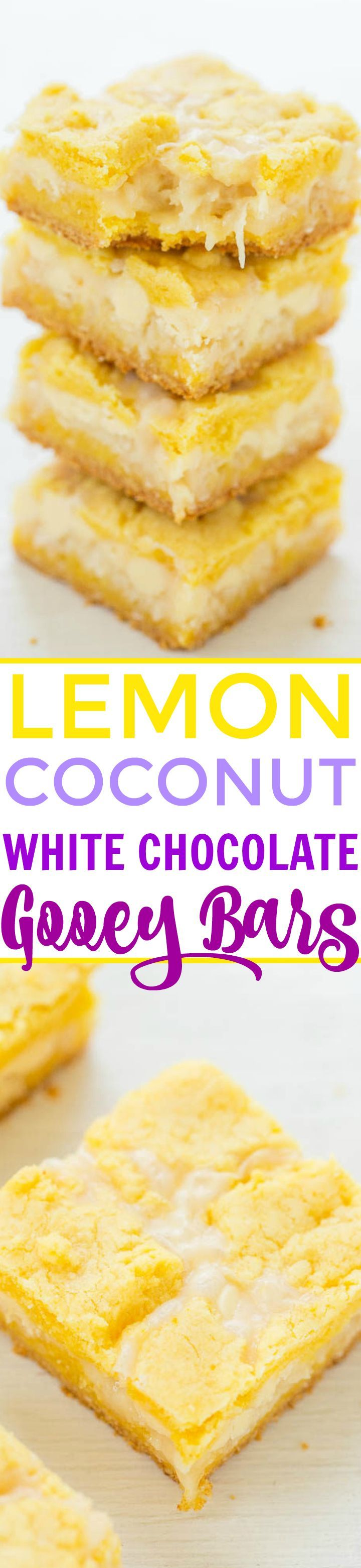 Lemon Coconut White Chocolate Gooey Bars - If you like traditional lemon bars, you'll LOVE this EASY recipe for soft, chewy, and oh-so-gooey lemon bars!! Loaded with white chocolate and coconut!!