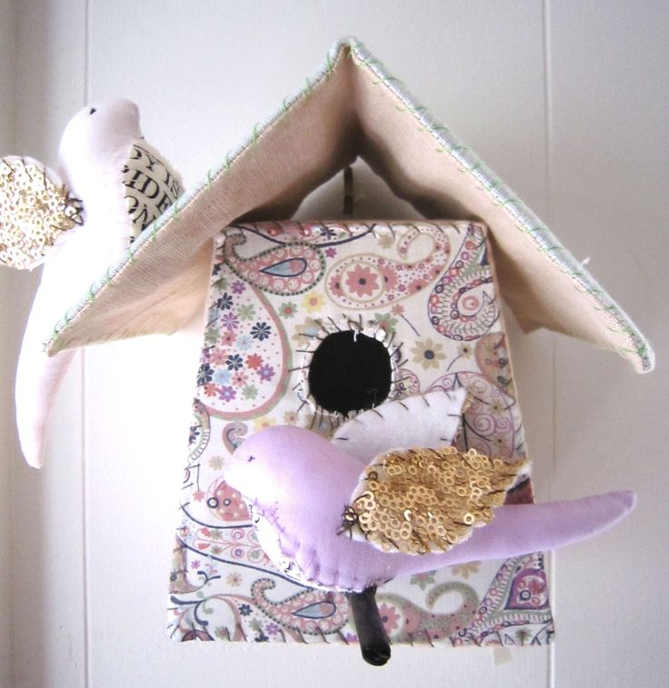 Medium Birdhouse – Pink & Paisley   Handmade from Vintage Fabrics and sequins  dimensions approximately 16x17cm    This charming birdhouse by celebrated artist Tamar Mogendorff is an amazing piece that will no doubt bring a touch of texture and whimsy to your chosen space. Featuring a beautiful melange of vintage fabrics in contrasting pinks and paisley patterns, this is a truly unique work.