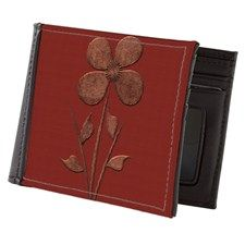 Cute Copper Flower Red Canvas Mens Wallet