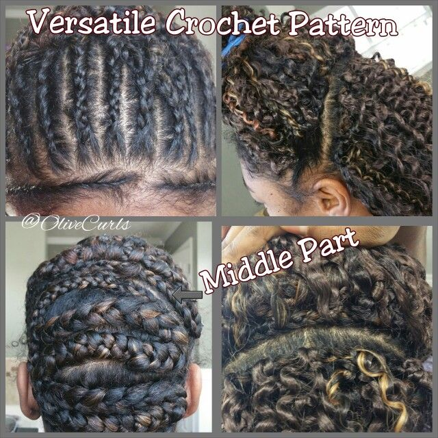 Versatile Crochet Pattern! Wanted to share with you how I achieved a crochet install to allow high pony/ half up half down/ middle part and side part options. Here's the braid pattern. The BOTTOM section:I braided the back starting from the middle of my head on the left downward then across the back leaving out the tension areas then upward to the middle on the right then zig zag left to right until I reached the bottom again and attached that braid to another and crocheted over it. The TOP…
