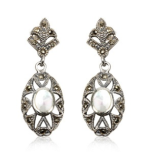 Earrings in sterling silver, pearl and marcasite. Tax free $26.90